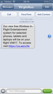 Virgin Australia mobile IFE app